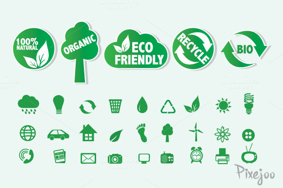 32 Eco Friendly Icons And Labels
