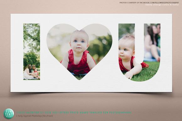 Valentines I LOVE U 10x20 Photoboard