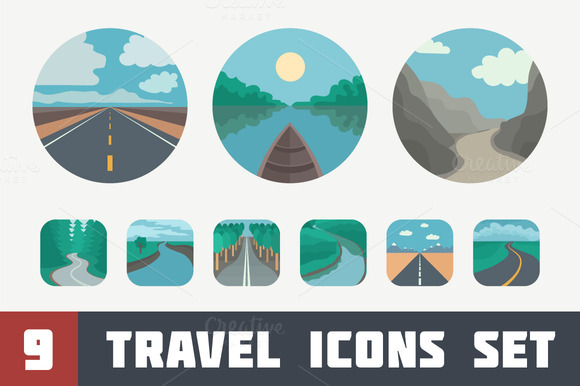Travel Icons Set Landscapes