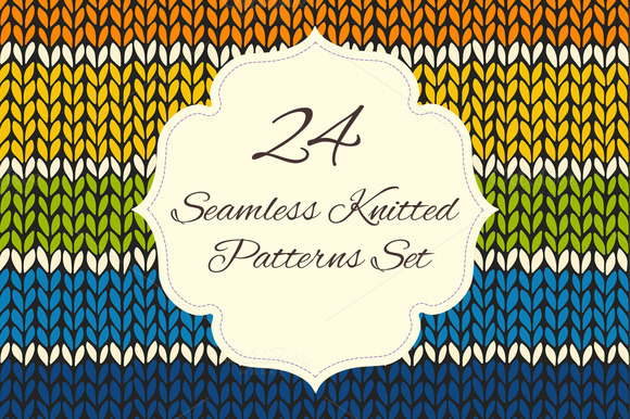 Set Of 24 Knitted Seamless Patterns
