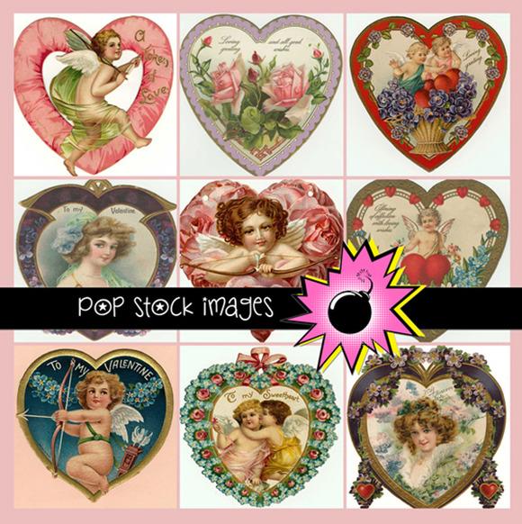 100 Vintage Diecut Valentine Hearts
