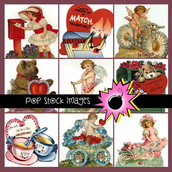 100 Vintage Diecut Valentines