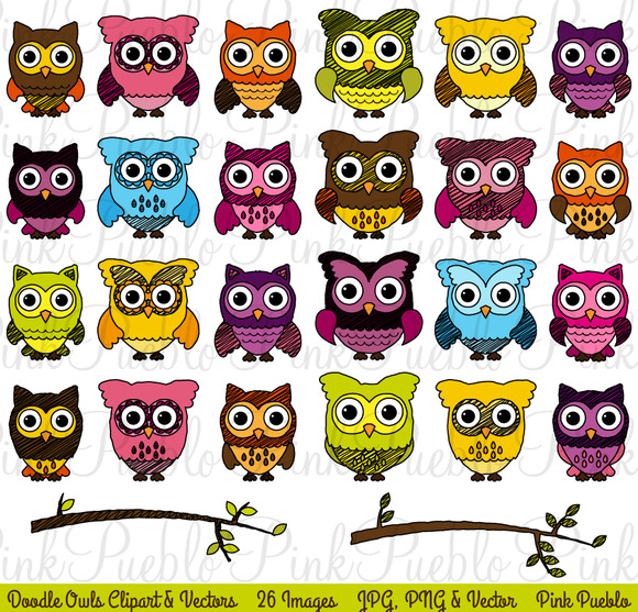 Doodle Owl Clipart And Vectors
