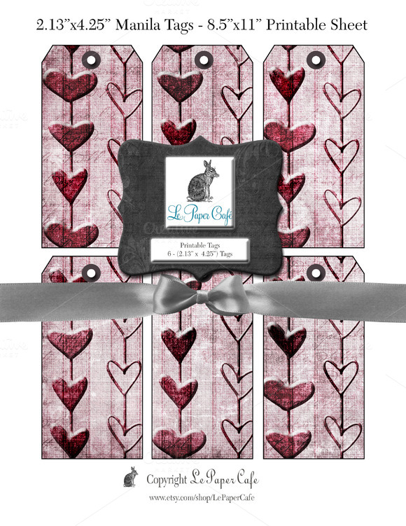 Valentines Day Pink Gift Tag Set