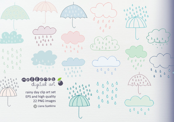 Rainy Day Clip Art Set