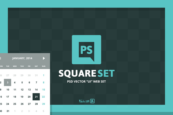 Square PSD Vector UI Web Set