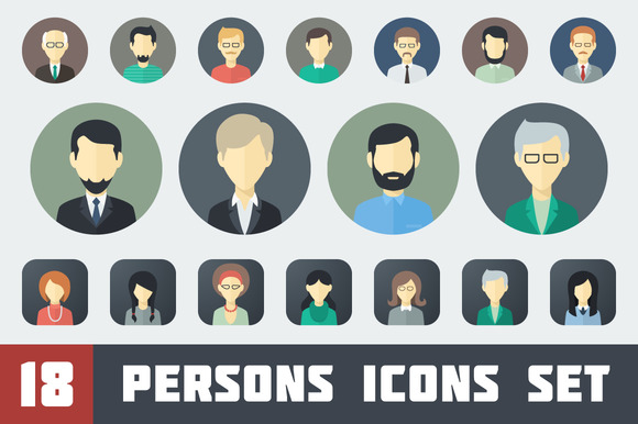Flat Persons Icons Set