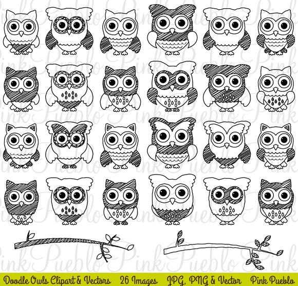 Doodle Owls Clipart Vectors