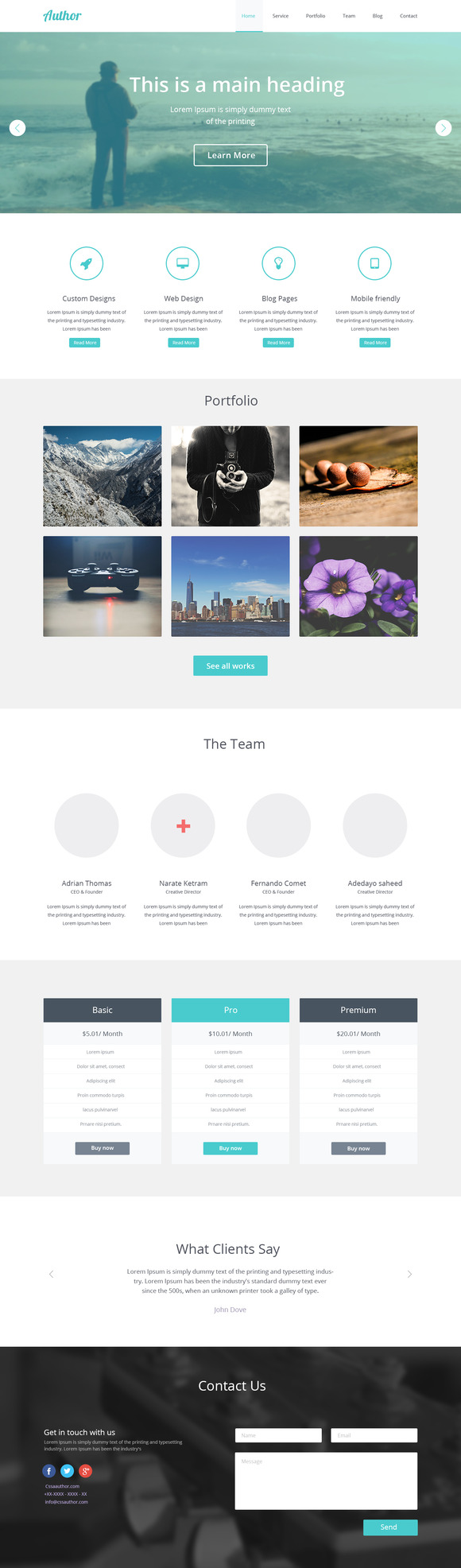 Author One Page PSD Template