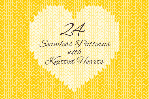 24 Knitted Hearts Seamless Patterns