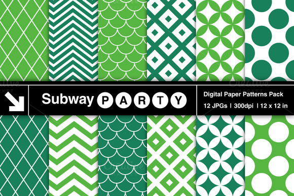 Emerald Retro Geometric Patterns