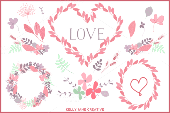 Valentine Wreaths Flowers Vector
