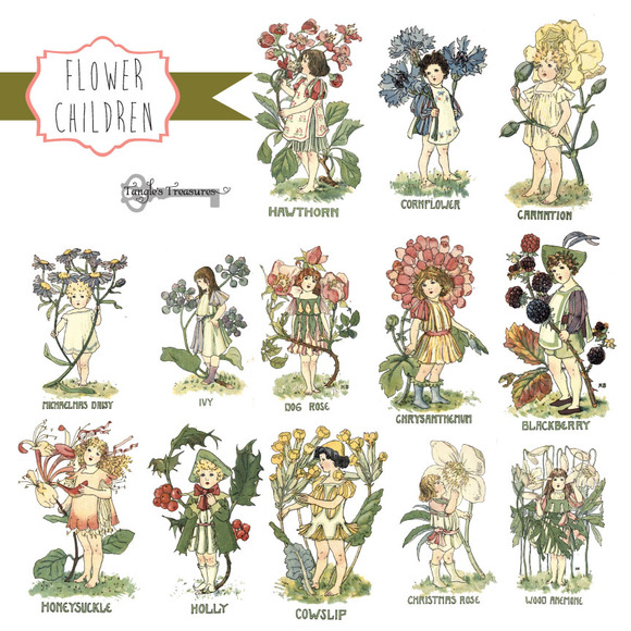 Vintage Flower Children Clipart