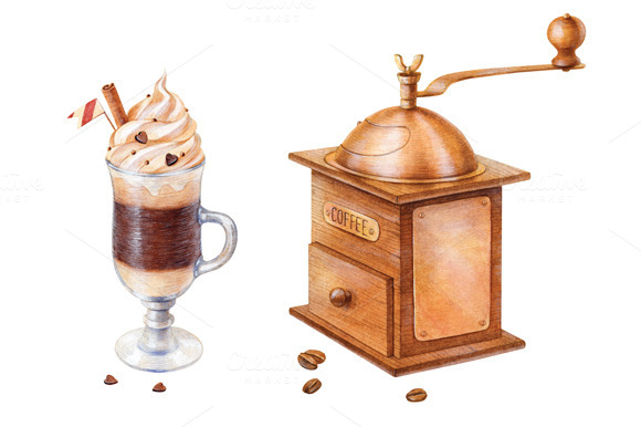 Watercolor Coffee Mill And Latte