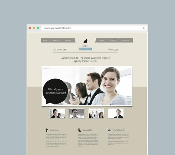 Kits Modern Agency Web Template PSD