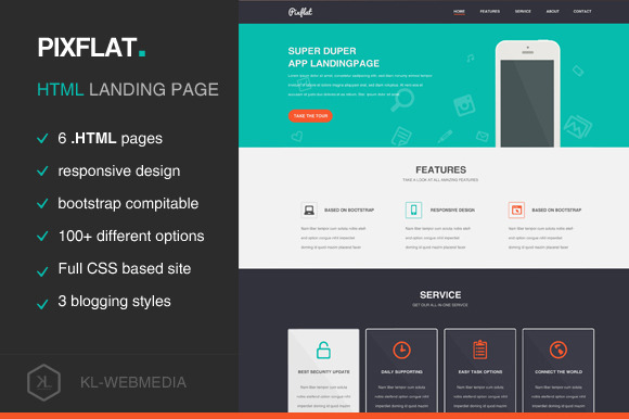 Pixflat Landing Page HTML