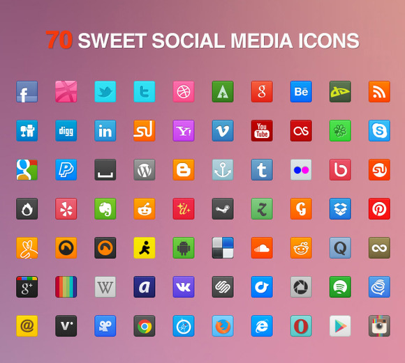 70 Sweet Social Media Icons