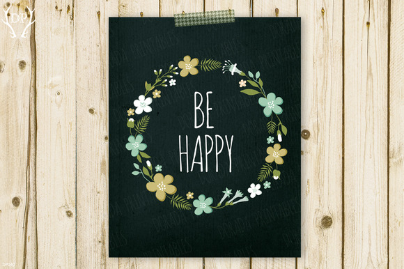 Be Happy Flower Wreath Floral Quote