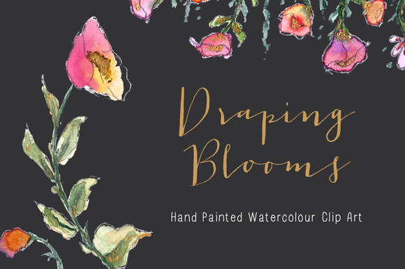 Watercolor Clip Art Draping Blooms