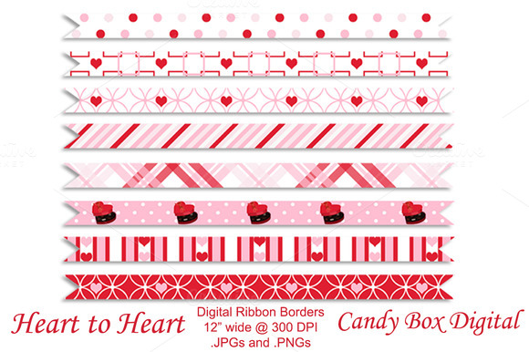 Heart To Heart Digital Ribbon Border