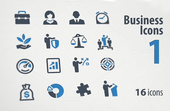 Business Icons Set 1 Blue Series