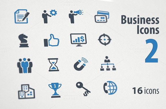 Business Icons Set 2 Blue Series