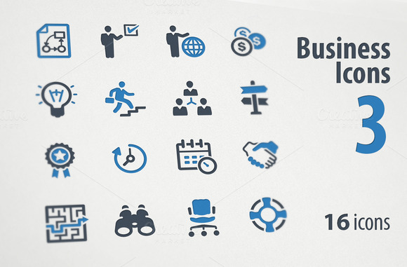 Business Icons Set 3 Blue Series