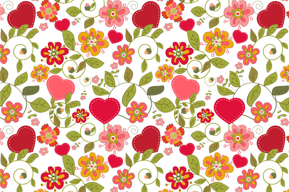 Seamless Pattern Flowers Hearts