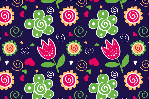 Pattern Tulips Green Flowers
