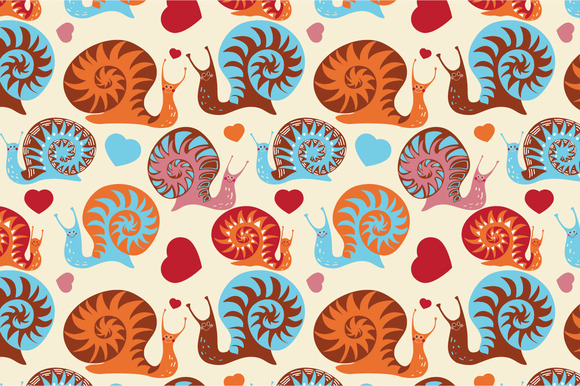 Seamless Pattern Funny Snails