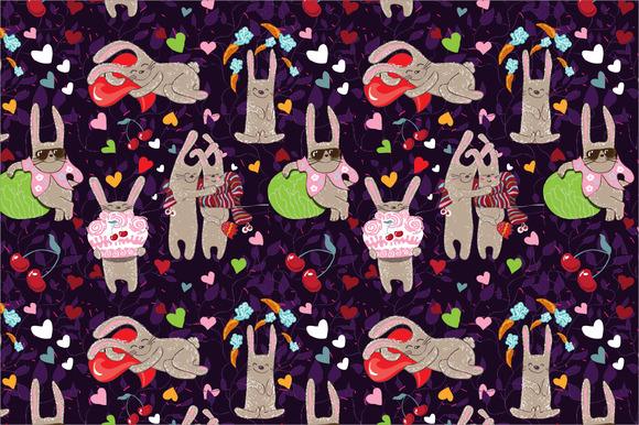 Seamless Pattern Rabbits