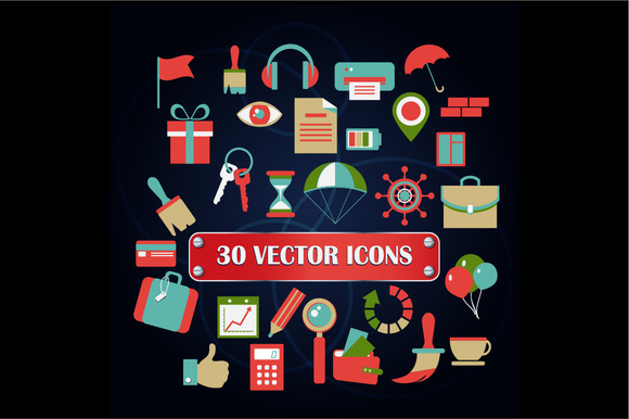 Set Of 30 Vector Icons