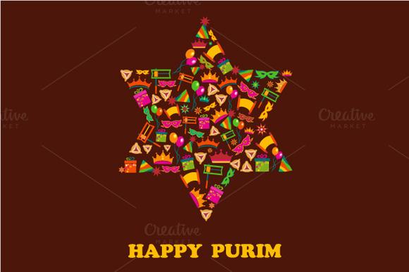 Happy Purim 3 Vector Cards