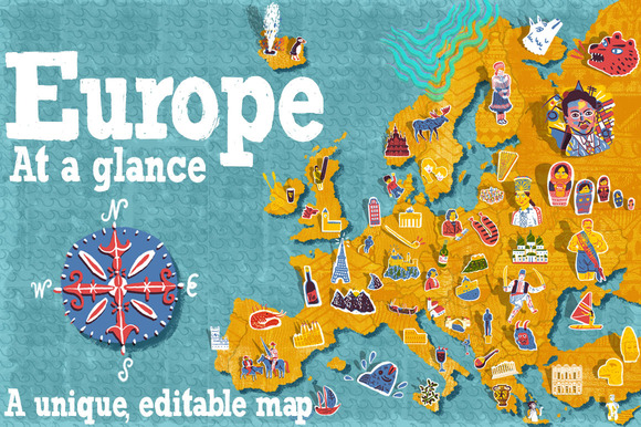 OVER 70 ItemsEurope Illustrated Map