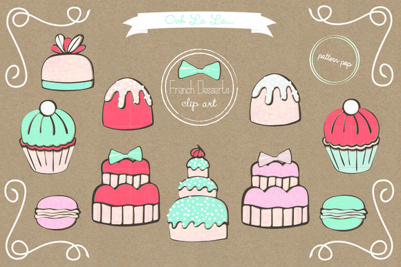 French Desserts Clip Art