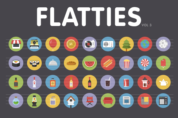 Flatties Vol 3 Flat Style Icon Set
