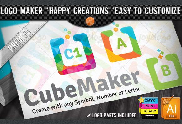 Colorful Flat Cube Logo Maker Set