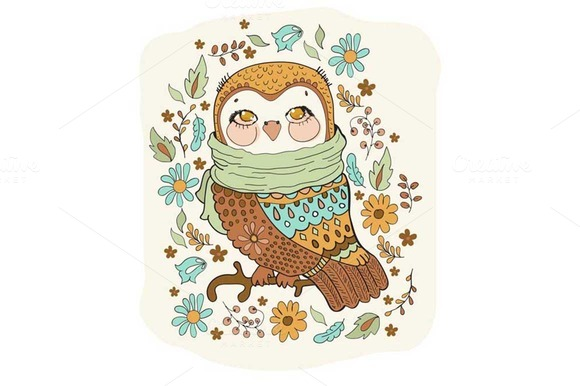 Cute Owl With Flowers