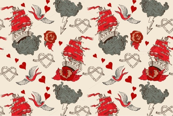 Seamless Vintage Pattern With Ship