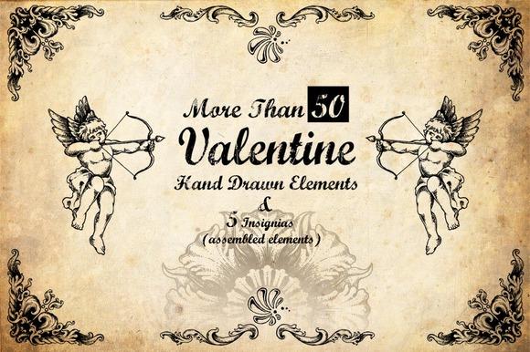 50 Hand Drawn Valentine Elements