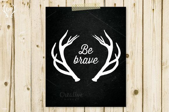 Antlers Chalkboard Be Brave Art