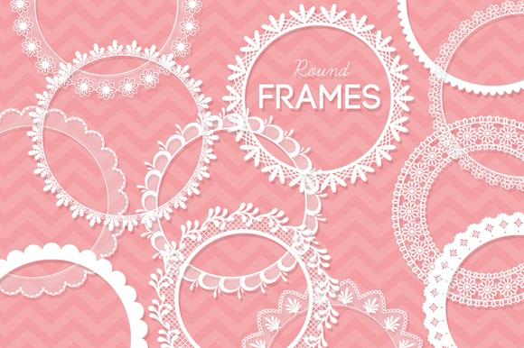 12 Round Lace Frames Clip Art