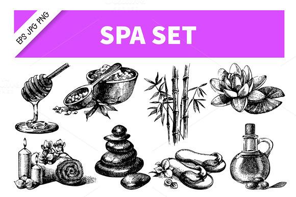 Hand Drawn Sketch Vintage Spa Set