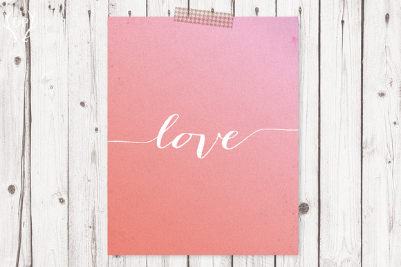 Love Quote Printable Script Art Pink
