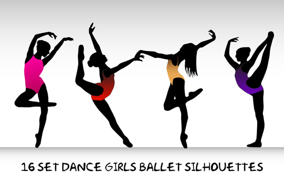 16 Set Dance Girls Ballet Vector