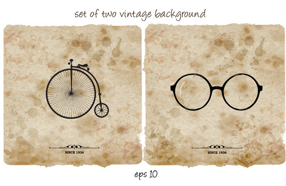 Set Of Two Vintage Backgrounds