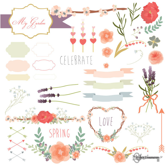Spring Love Romantic Flower Vectors