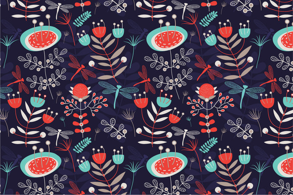 Seamless Pattern Summer Night