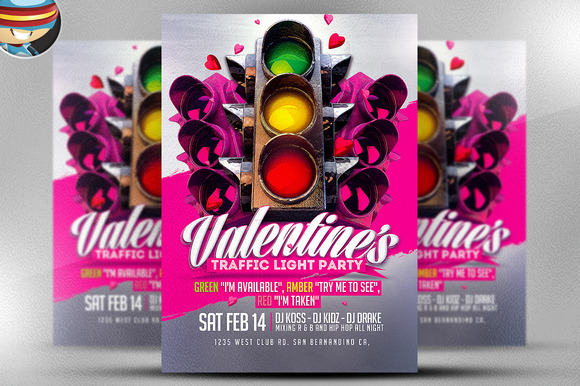 Valentine S Traffic Light PSD Flyer