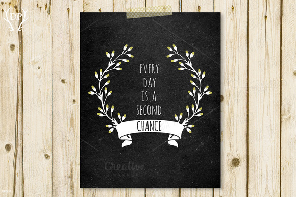 Quote Floral Wreath Chalkboard Art
